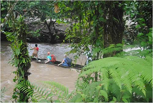 The OWC Amazon Rain Forest School Project team crosses a river in the Ecuadorian Amazon in 2011.